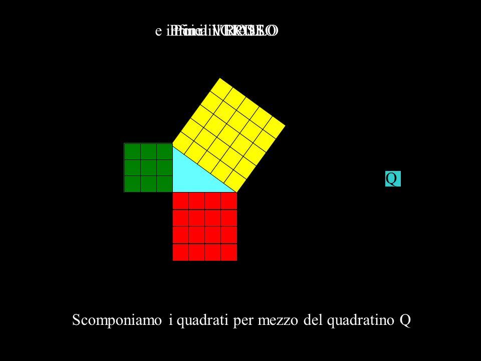 Scomponiamo i quadrati per mezzo del quadratino Q