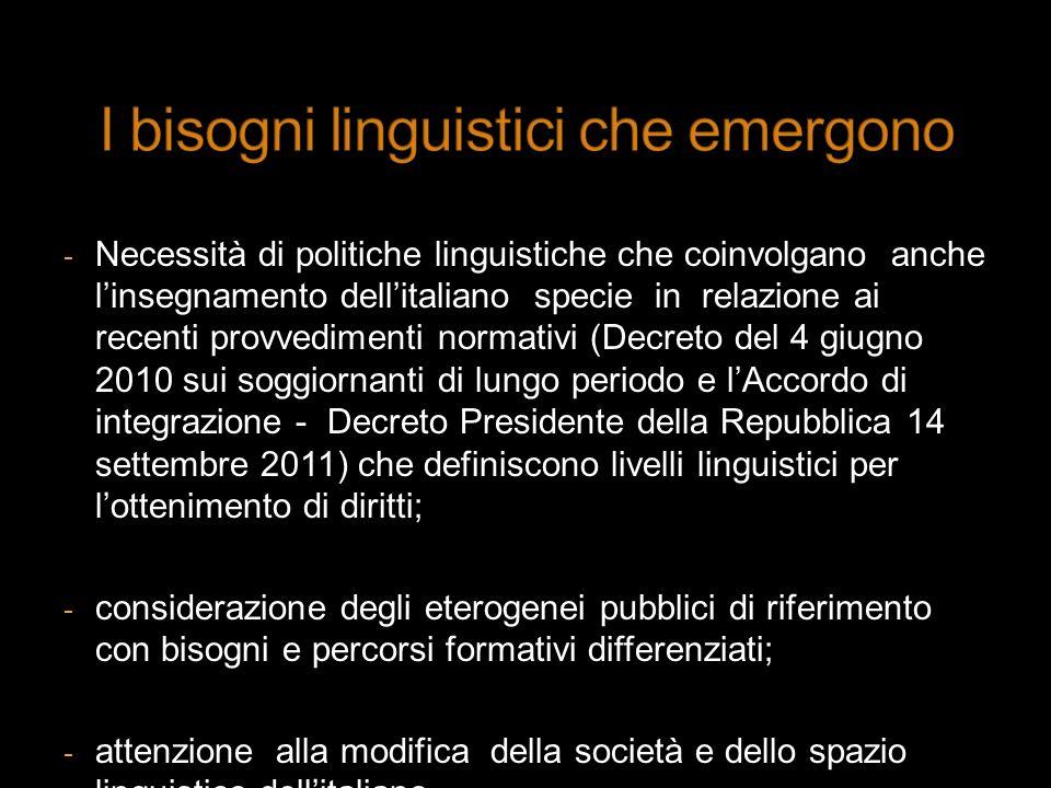 I bisogni linguistici che emergono