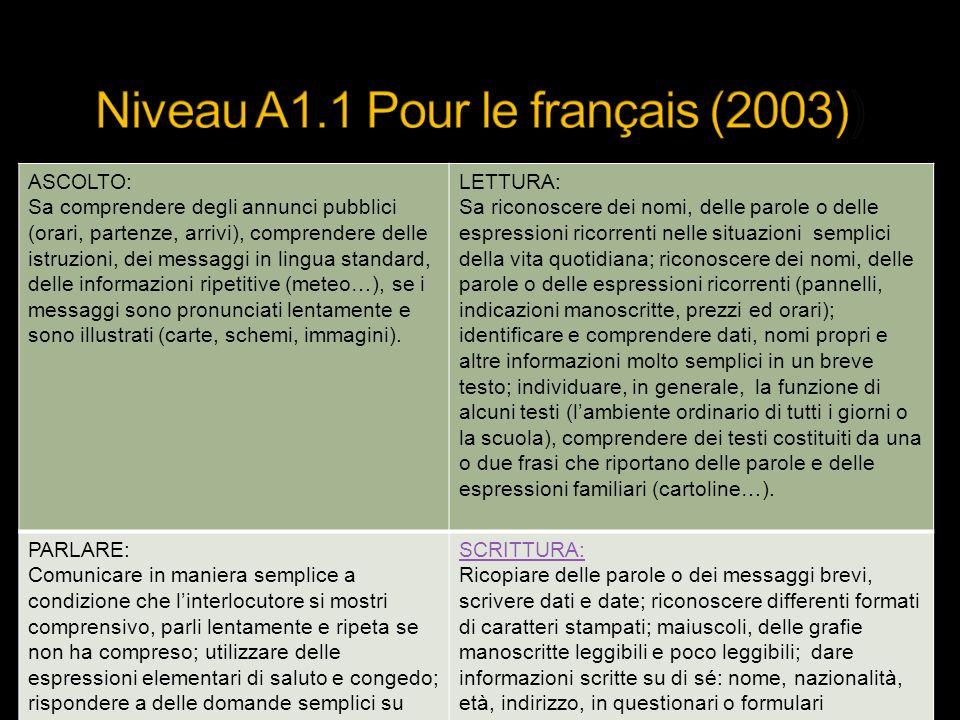 Niveau A1.1 Pour le français (2003))