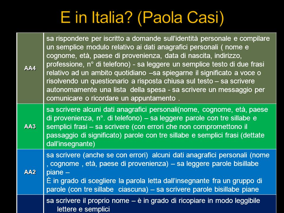 E in Italia (Paola Casi)