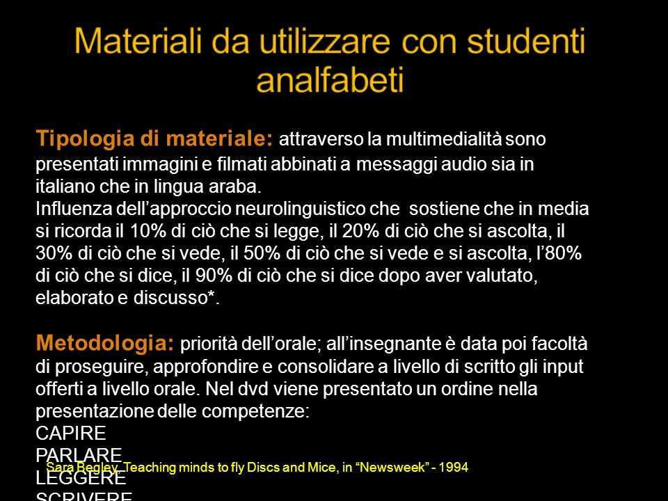 Materiali da utilizzare con studenti analfabeti