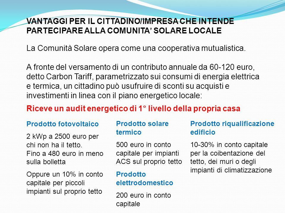 La Comunità Solare opera come una cooperativa mutualistica.
