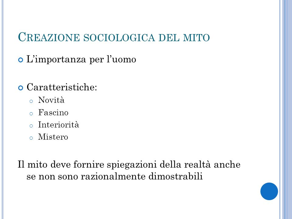 Creazione sociologica del mito