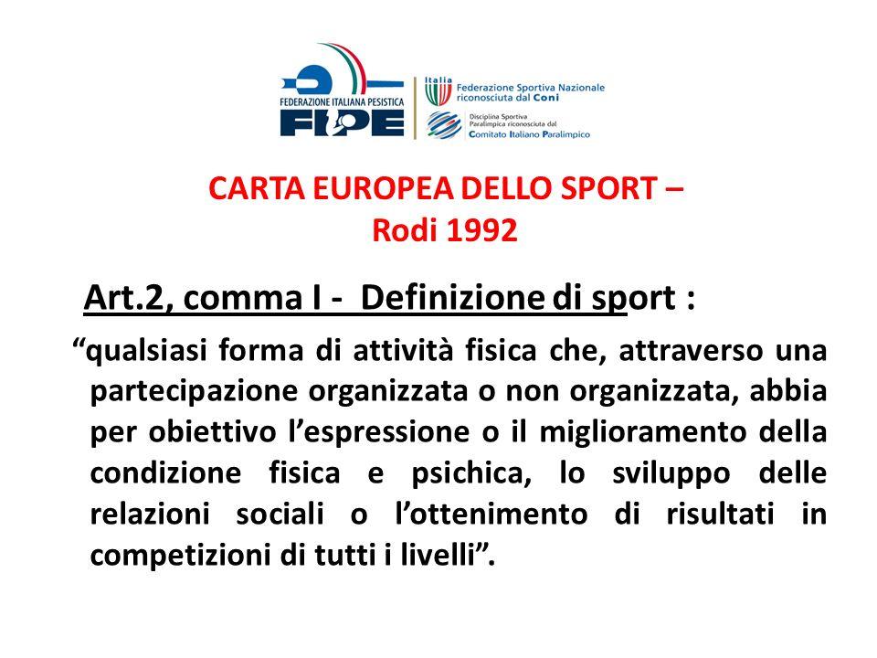CARTA EUROPEA DELLO SPORT – Rodi 1992