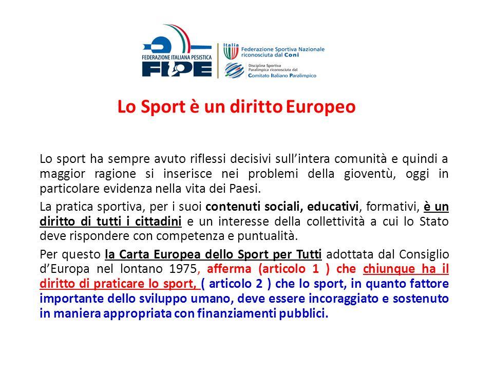 Lo Sport è un diritto Europeo