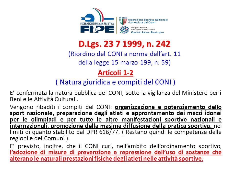 ( Natura giuridica e compiti del CONI )