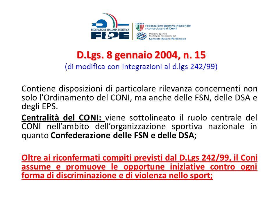 D. Lgs. 8 gennaio 2004, n. 15 (di modifica con integrazioni al d