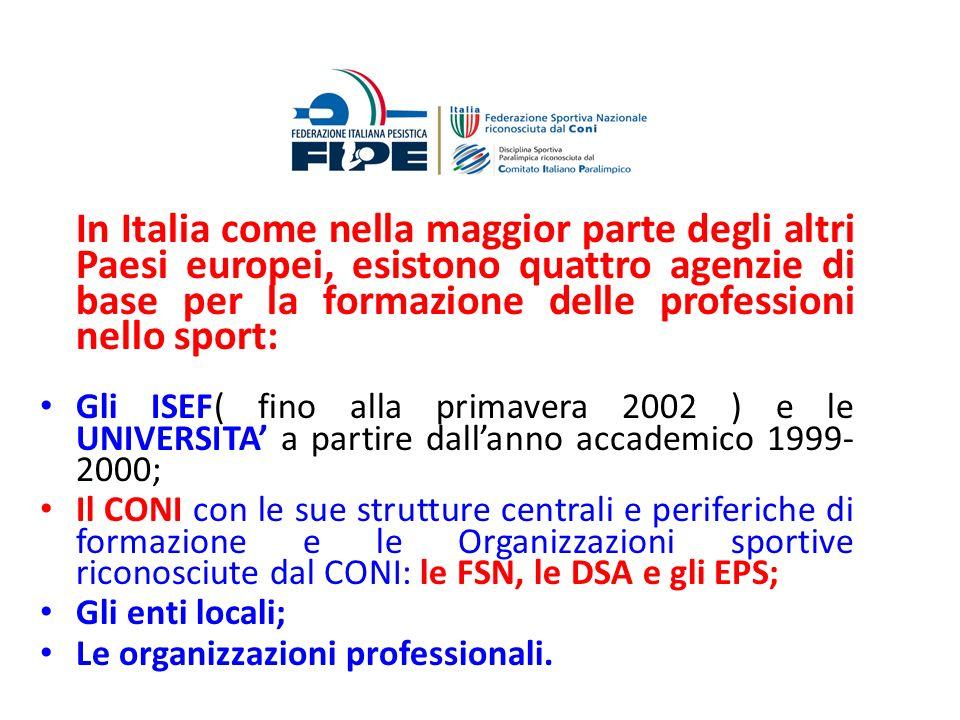 In Italia come nella maggior parte degli altri Paesi europei, esistono quattro agenzie di base per la formazione delle professioni nello sport: