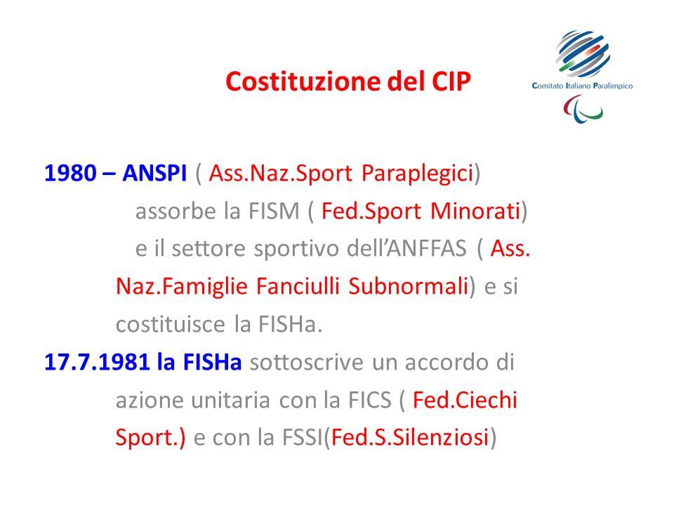 Costituzione del CIP 1980 – ANSPI ( Ass.Naz.Sport Paraplegici)