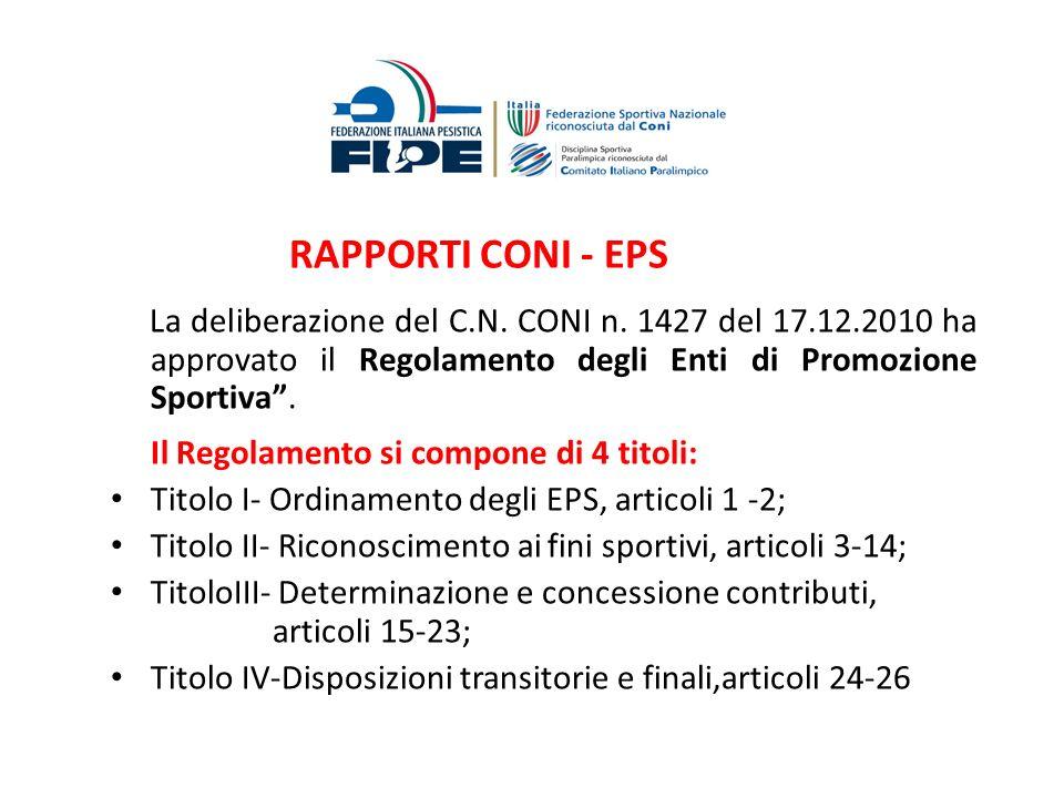 RAPPORTI CONI - EPS La deliberazione del C.N. CONI n. 1427 del 17.12.2010 ha approvato il Regolamento degli Enti di Promozione Sportiva .