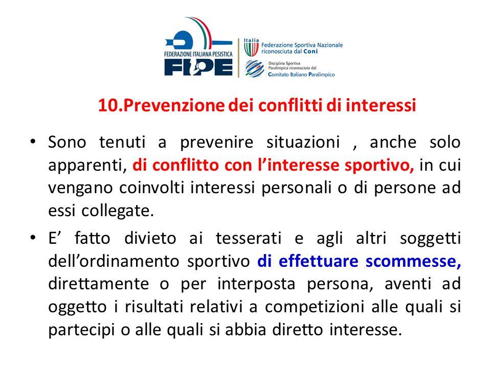 10.Prevenzione dei conflitti di interessi