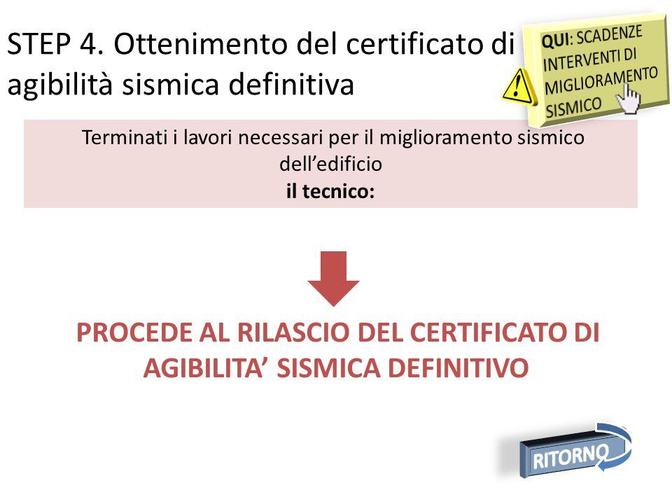 PROCEDE AL RILASCIO DEL CERTIFICATO DI AGIBILITA' SISMICA DEFINITIVO