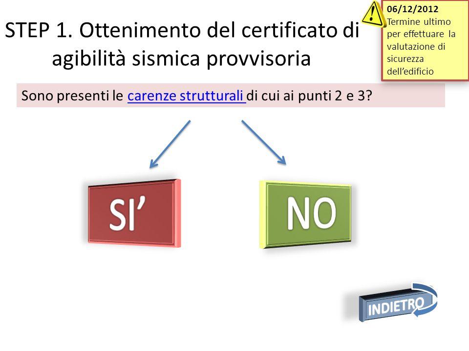 06/12/2012 Termine ultimo per effettuare la valutazione di sicurezza dell'edificio