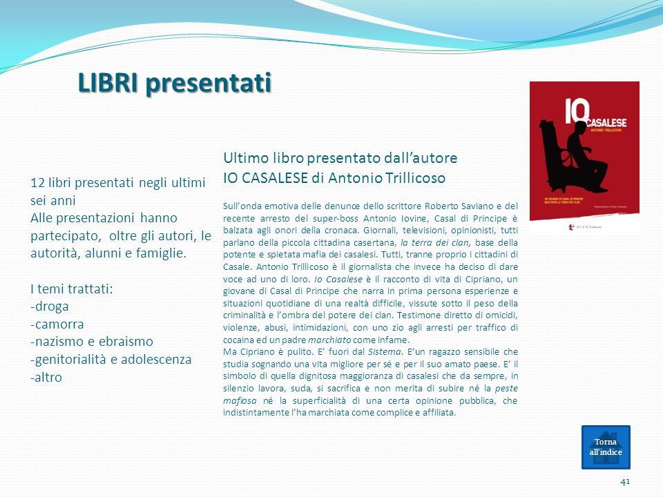LIBRI presentati Ultimo libro presentato dall'autore