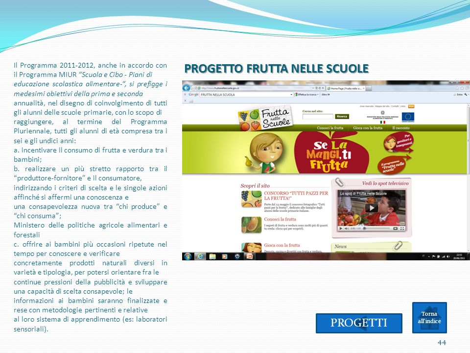PROGETTO FRUTTA NELLE SCUOLE