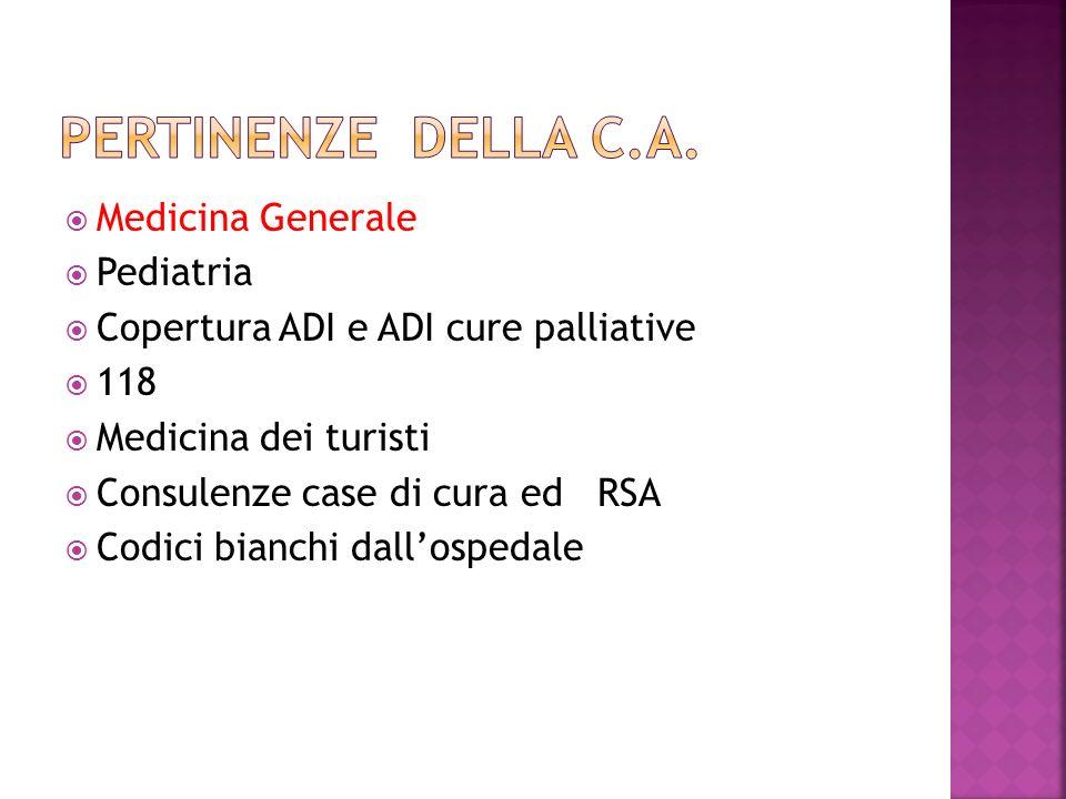 Pertinenze della c.a. Medicina Generale Pediatria