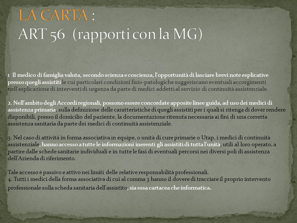 LA CARTA : ART 56 (rapporti con la MG)