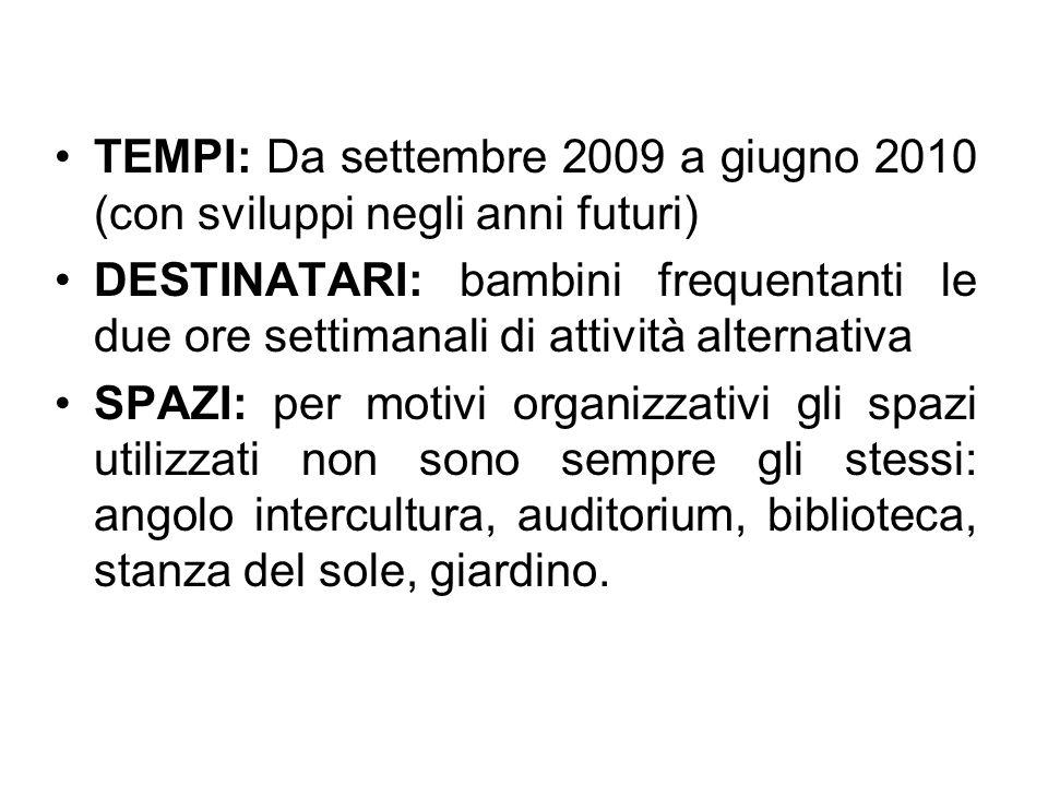 TEMPI: Da settembre 2009 a giugno 2010 (con sviluppi negli anni futuri)