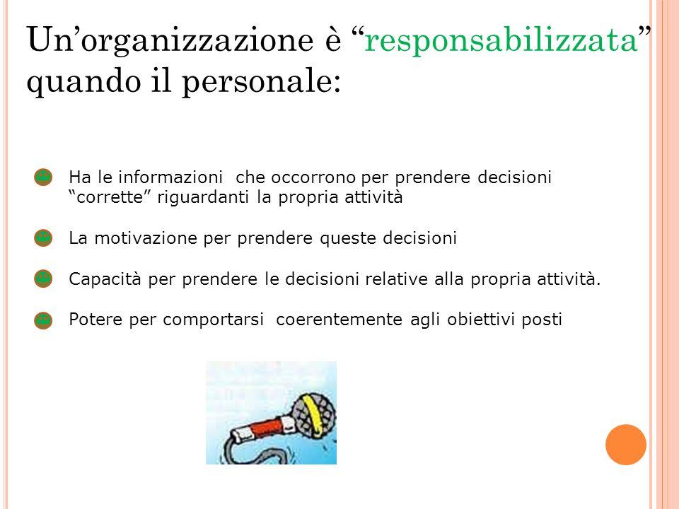 Un'organizzazione è responsabilizzata quando il personale: