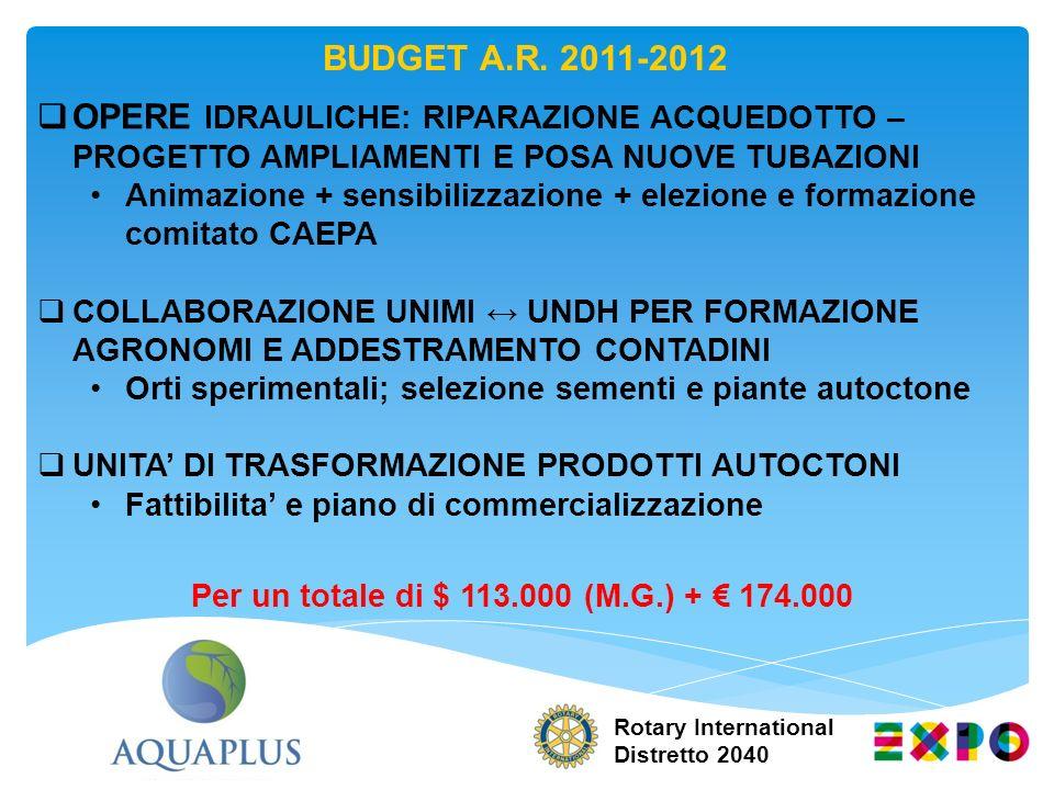 Per un totale di $ 113.000 (M.G.) + € 174.000