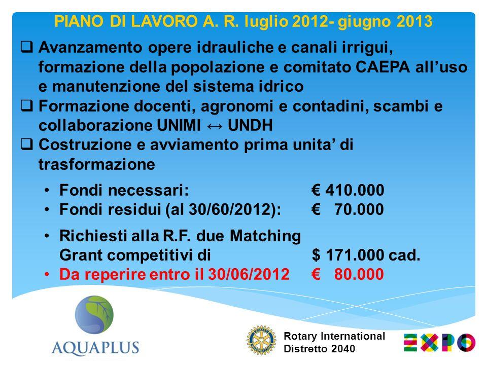 PIANO DI LAVORO A. R. luglio 2012- giugno 2013