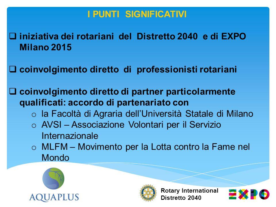 iniziativa dei rotariani del Distretto 2040 e di EXPO Milano 2015