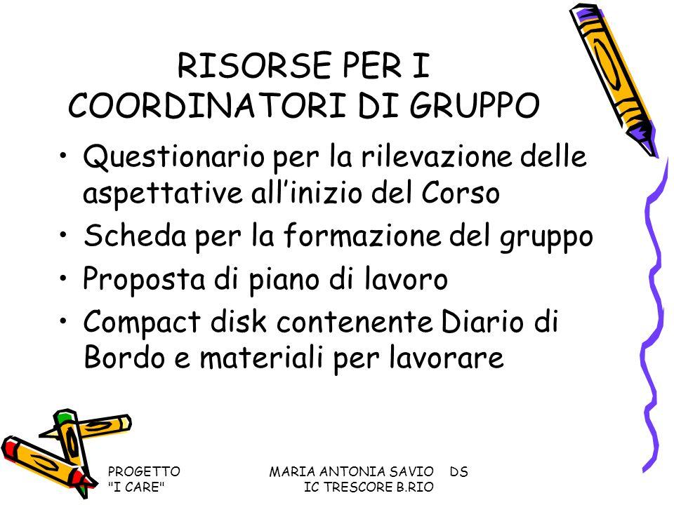 RISORSE PER I COORDINATORI DI GRUPPO