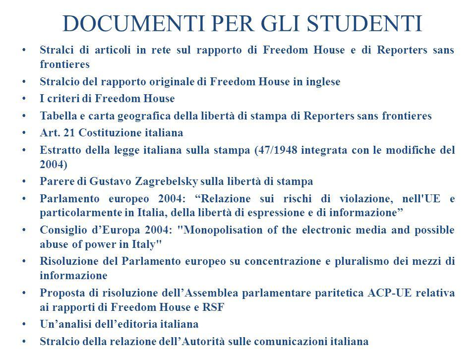 DOCUMENTI PER GLI STUDENTI