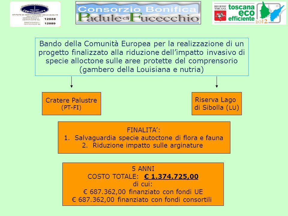 Bando della Comunità Europea per la realizzazione di un progetto finalizzato alla riduzione dell'impatto invasivo di specie alloctone sulle aree protette del comprensorio (gambero della Louisiana e nutria)