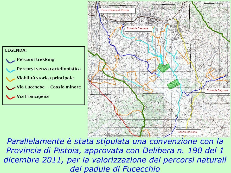 Fiume Pescia di Pescia Torrente Cessana. LEGENDA: Percorsi trekking. Percorsi senza cartellonistica.