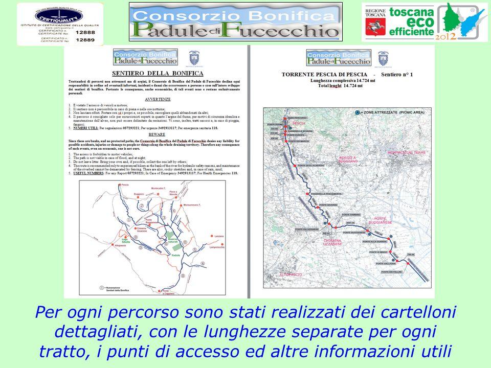 Per ogni percorso sono stati realizzati dei cartelloni dettagliati, con le lunghezze separate per ogni tratto, i punti di accesso ed altre informazioni utili