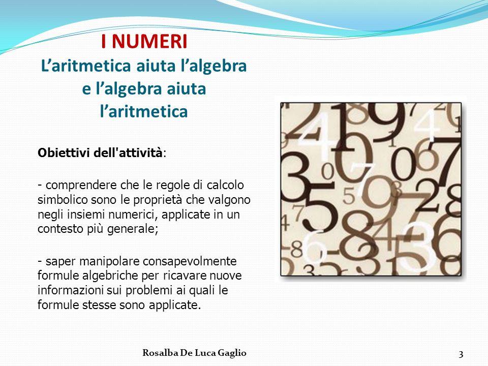 I NUMERI L'aritmetica aiuta l'algebra e l'algebra aiuta l'aritmetica
