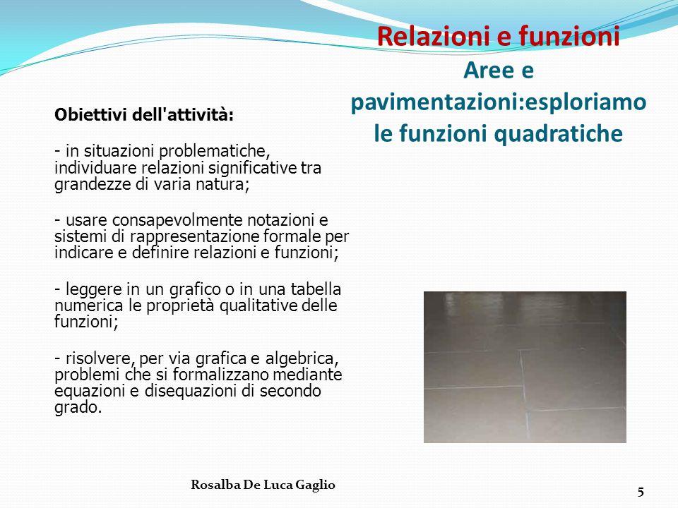Relazioni e funzioni Aree e pavimentazioni:esploriamo le funzioni quadratiche