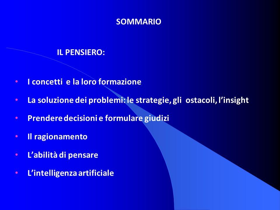 SOMMARIO IL PENSIERO: I concetti e la loro formazione. La soluzione dei problemi: le strategie, gli ostacoli, l'insight.