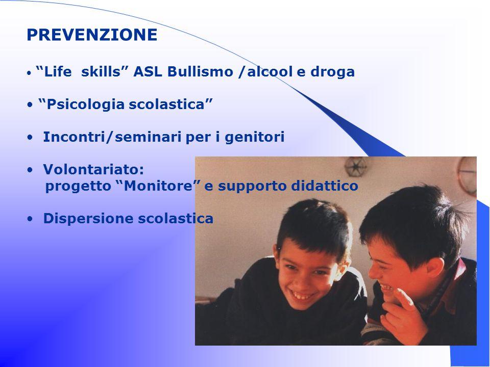 PREVENZIONE Psicologia scolastica Incontri/seminari per i genitori