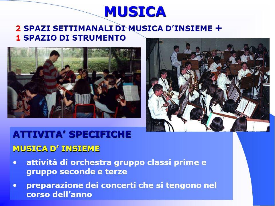 MUSICA ATTIVITA' SPECIFICHE 2 SPAZI SETTIMANALI DI MUSICA D'INSIEME +