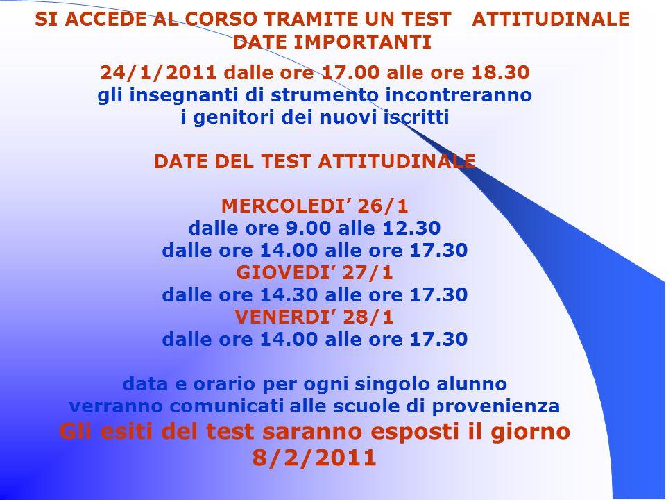 Gli esiti del test saranno esposti il giorno 8/2/2011