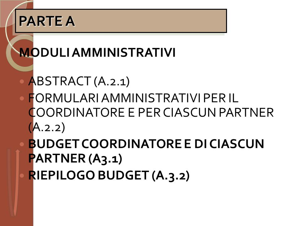 PARTE A MODULI AMMINISTRATIVI ABSTRACT (A.2.1)