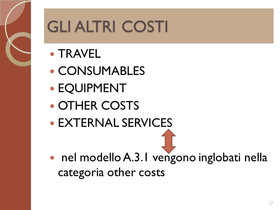 GLI ALTRI COSTI TRAVEL CONSUMABLES EQUIPMENT OTHER COSTS