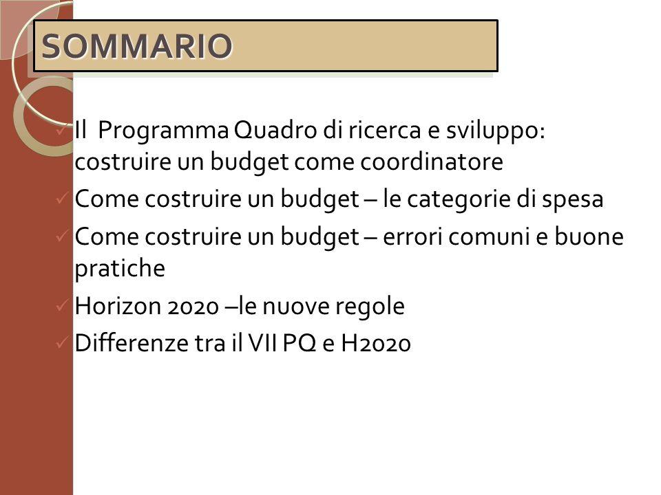 SOMMARIO Il Programma Quadro di ricerca e sviluppo: costruire un budget come coordinatore. Come costruire un budget – le categorie di spesa.