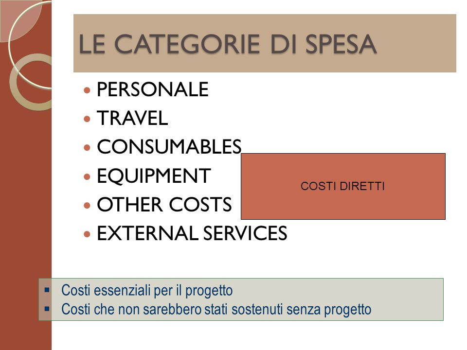 LE CATEGORIE DI SPESA PERSONALE TRAVEL CONSUMABLES EQUIPMENT