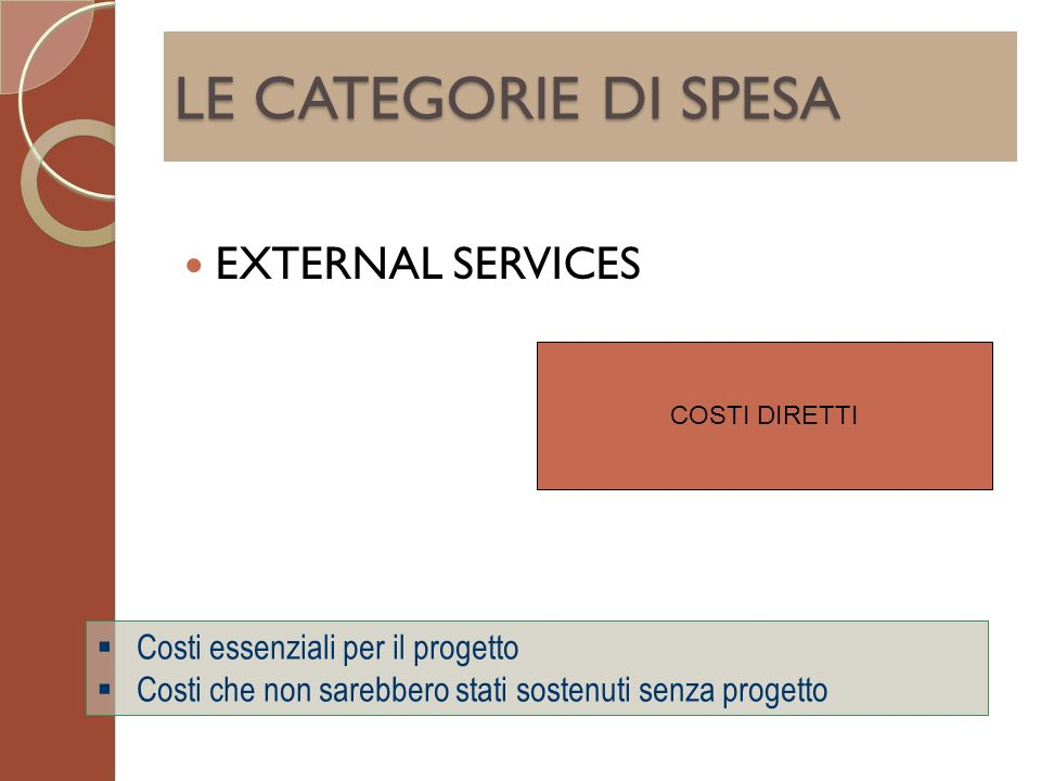 LE CATEGORIE DI SPESA EXTERNAL SERVICES