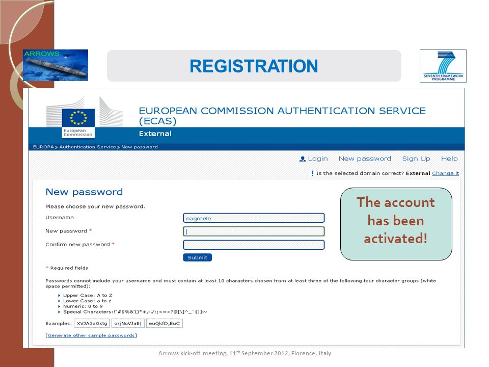 REGISTRATION The account has been activated!