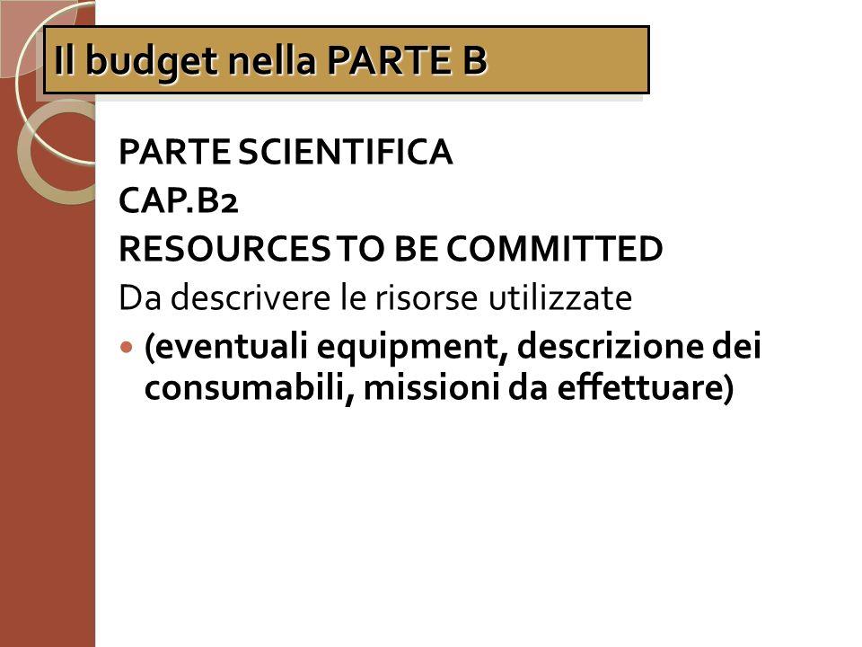 Il budget nella PARTE B PARTE SCIENTIFICA CAP.B2
