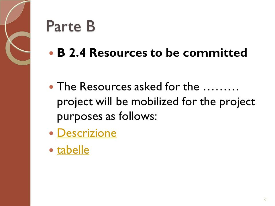 Parte B B 2.4 Resources to be committed