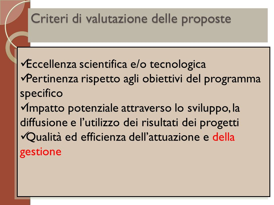 Criteri di valutazione delle proposte