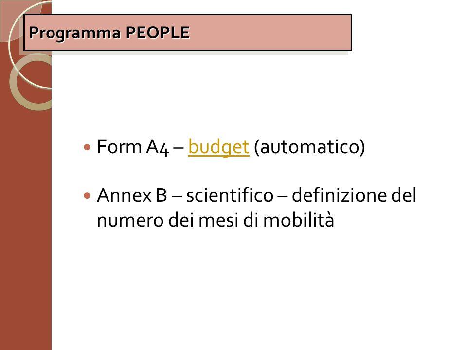 Form A4 – budget (automatico)