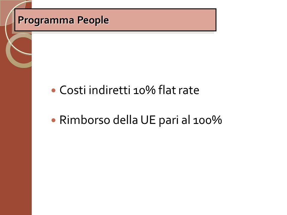 Costi indiretti 10% flat rate Rimborso della UE pari al 100%