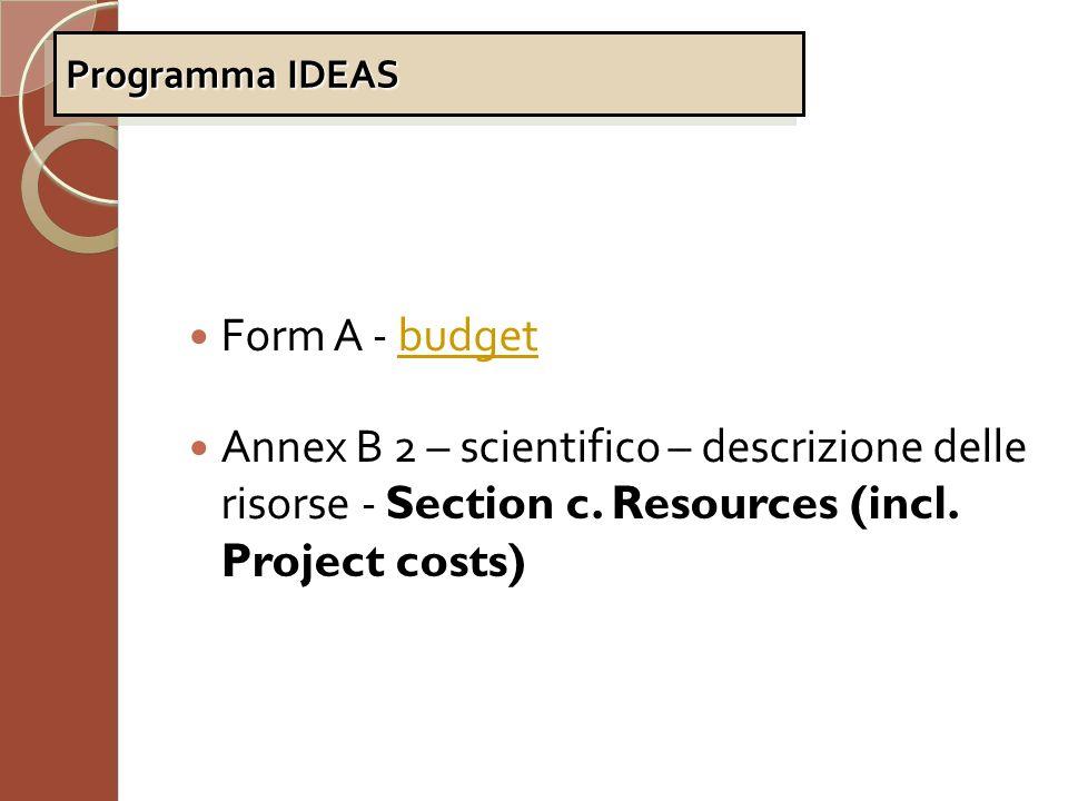 Programma IDEAS Form A - budget. Annex B 2 – scientifico – descrizione delle risorse - Section c.