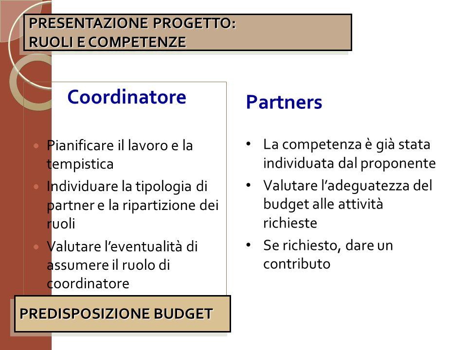 Coordinatore Partners PRESENTAZIONE PROGETTO: RUOLI E COMPETENZE